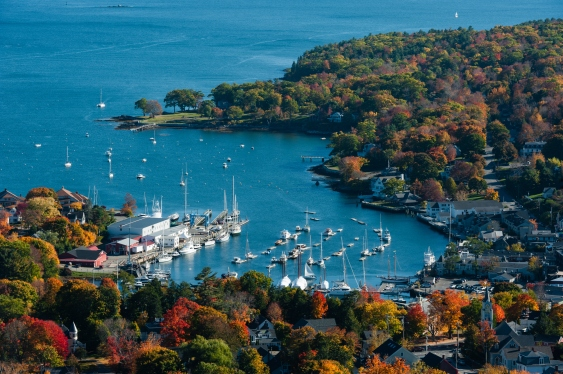 Aerial view of Camden, Maine harbor in fall
